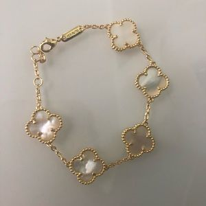 Mother Of Pearl Clover Bracelet Yellow Gold o/925